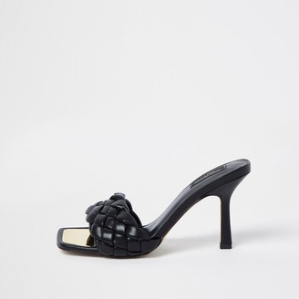 River Island Womens Black wide fit woven mule