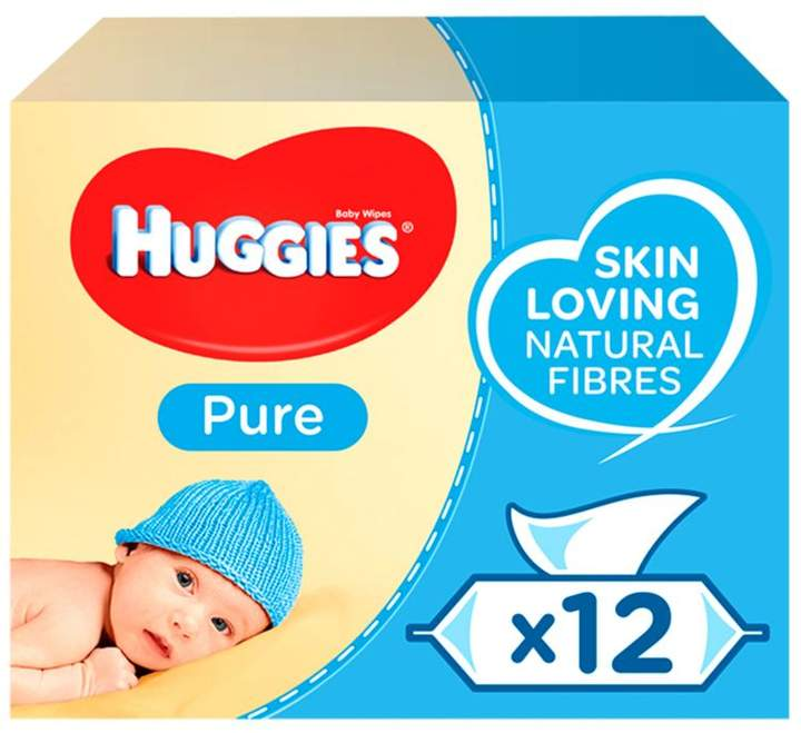 12 Packs 672 Wipes Huggies Pure Extra Care Baby Wipes Free Next Day Delivery