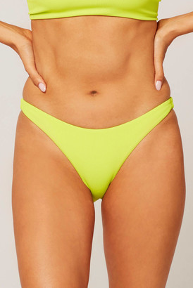 L-Space Camacho Ribbed Acid Green Hipster Bikini Bottom Lime M