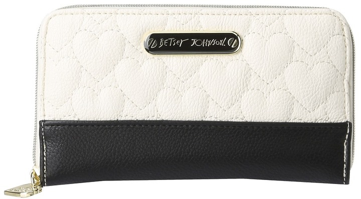Betsey Johnson Be My One and Only Zip Around Wallet (Cream Multi) - Bags and Luggage