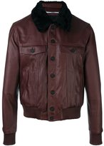 Kenzo shearling collar bomber jacket - men - Cotton/Calf Leather/Sheep Skin/Shearling/Polyamide - M