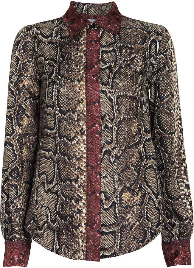 Victoria Beckham Slim Snake-Printed Silk Shirt