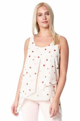 Roman Originals Women Spot Asymmetric Top - Ladies Everyday Casual Summer Holiday Day Night Daywear Party Evening Sleeveless Layered Chiffon Blouse Vest Top - Cream - Size 12