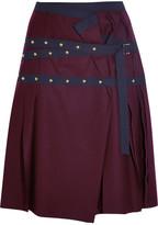 Sacai Pleated Stud-embellished Wool Mini Skirt - Plum