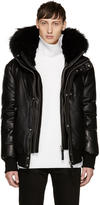 Mackage Ssense Exclusive Black Leather Down Glen Jacket