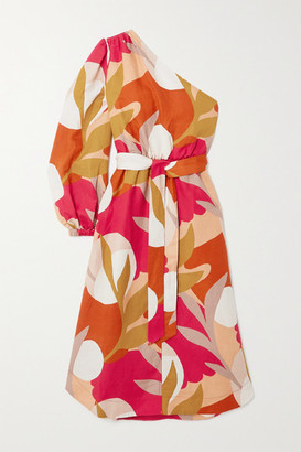 Rebecca Vallance Sangria One-sleeve Belted Printed Linen-blend Midi Dress - Mustard