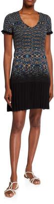 M Missoni Space Dye Pleated Bottom Short-Sleeve Dress