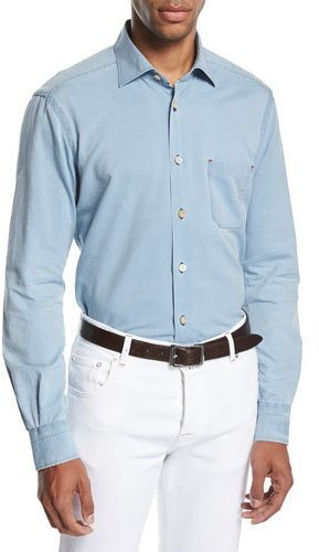Kiton Washed Chambray Shirt, Light Blue