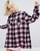 Lazy Oaf Oversized Shirt With Heart Pockets In Check Flannel
