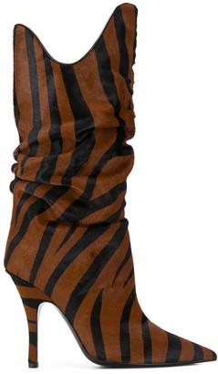 ATTICO Tiger-Print Stiletto Boots