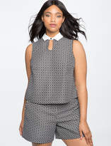 ELOQUII Sleeveless Oxford Top with Keyhole