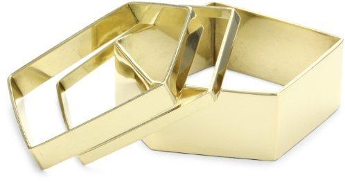 Noir D'oro Set Of 3 Pentagon Bangle Bracelets