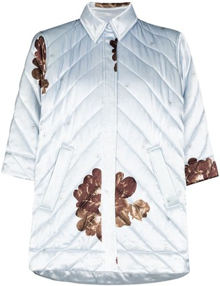 Ganni Floral-Print Quilted Shirt Jacket
