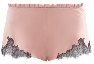 Carine Gilson Chantilly-lace And Silk-satin Shorts - Light Brown