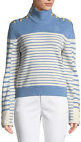 J.W.Anderson Turtleneck Striped Merino Wool Sweater w/ Golden Button Detail