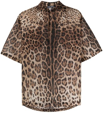 Dolce & Gabbana Leopard Print Bowling Shirt