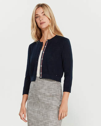 Tommy Hilfiger Pointelle Contrast Long Sleeve Cardigan