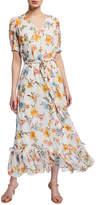 Calvin Klein Floral Peasant Chiffon Maxi Dress