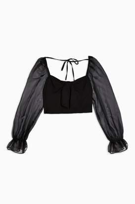 Topshop Womens Tall Black Sheer Organza Long Sleeve Blouse - Black