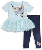 Flapdoodles Girls 2-6x Butterfly Graphic Dress and Leggings Set