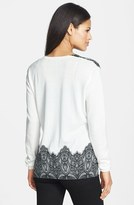 Rachel Roy Lace Jacquard V-Neck Sweater