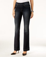 INC International Concepts Curvy Pull-On Dark Blue Wash Flared Jeans, Only at Macy's