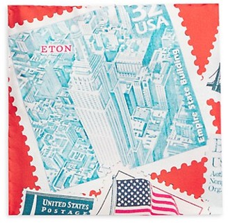 Eton Empire State Building Silk Pocket Square