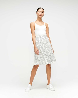 7 For All Mankind Knife-Pleat Skirt in Mini Triangle Print