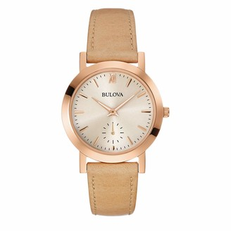 Bulova Women's Stainless Steel Analog-Quartz Watch with Leather Strap Brown 16 (Model: 97L146)