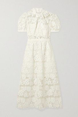 Self-Portrait Grosgrain-trimmed Guipure Lace Midi Dress - White