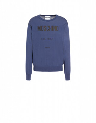 Moschino Couture Cashmere And Cotton Pullover Man Blue Size 44 It - (34 Us)