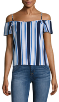 Lucca Couture Cold Shoulder Stripe Top