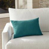 Crate & Barrel Sunbrella ® Bold Turquoise Outdoor Lumbar Pillow