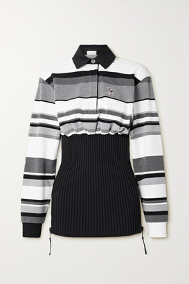 Burberry Appliqued Striped Cotton-pique And Ribbed-knit Top - Gray