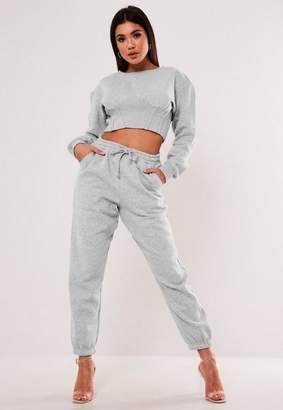 Missguided Gray Corset Detail Cropped Sweatshirt