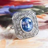 Etsy Ravishing Art Deco Style 6.65ct Blue Sapphire & 1.90cts Old Cut Diamond Ring Platinum