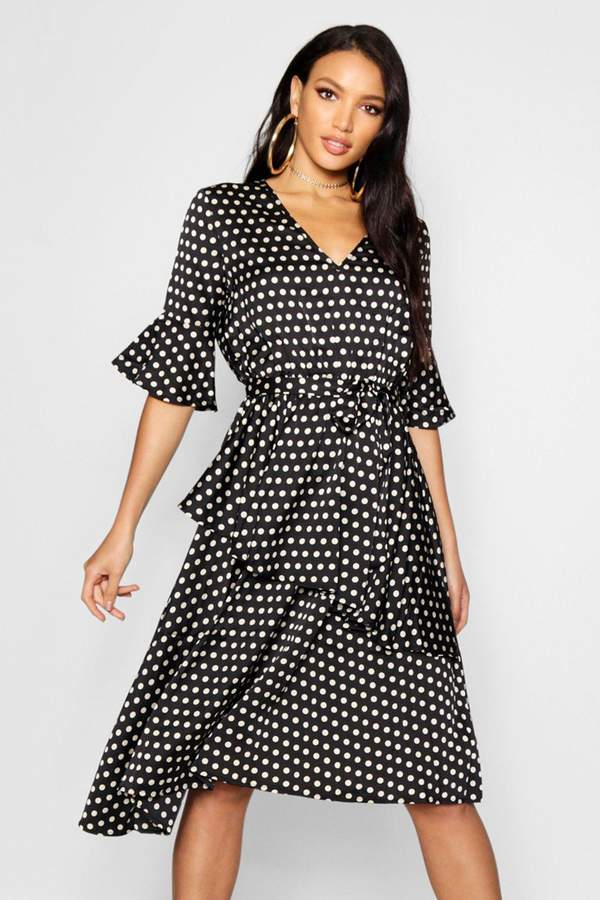 boohoo Sahara Asymmetric Polka Dot Midi Dress