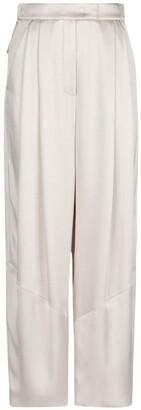 Giorgio Armani Pleated Silk Satin Wide Leg Pants