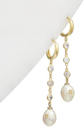 Alanna Bess Limited Collection 14K Over Silver Pearl Cz Hanging Huggie Earrings