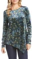 Karen Kane Floral Velvet Asymmetrical Top