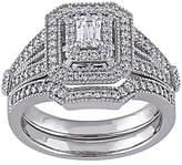 Affinity Diamond Jewelry Emerald & Round 2-Piece Ring Set, 14K, 7/10 ctt