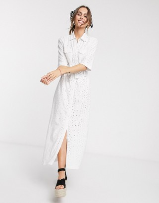 Asos DESIGN broderie shirt maxi dress in white
