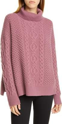 Nordstrom Signature Oversize Cable Knit Cashmere Turtleneck Sweater