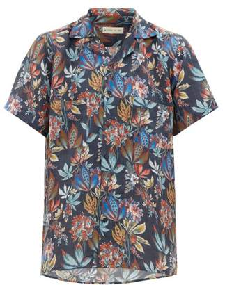 Etro Camp-collar Floral-print Linen Shirt - Mens - Navy Multi