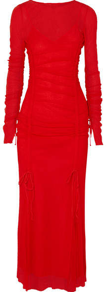 Diane von Furstenberg Ruched Corded Lace Maxi Dress - Red
