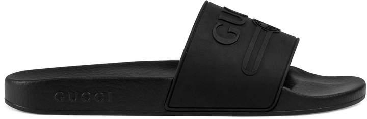Gucci logo rubber slide sandal