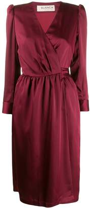 Blanca puff-shoulder wrap dress