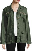 Ramy Brook James Embellished Utility Shirt Jacket, Sage