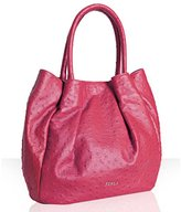 fuchsia ostrich embossed 'Pompidou' shoulder bag