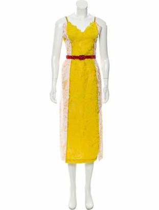 Rosie Assoulin Silk Devore Dress w/ Tags Yellow